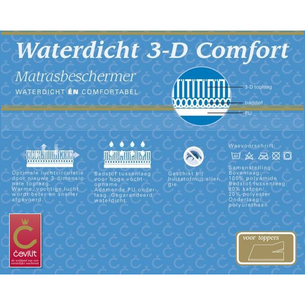 W3DH Waterdicht 3D Comfort topper molton van het merk Cevilit