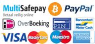 Alle betaalmogelijkheden bij matrassen.nl: PayPal, Mister Cash, iDeal, Visa, American Express, Master Card, Overboeking, Rembours en Maestro.