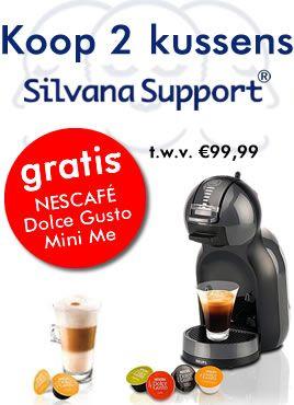 *Bij aanschaf van 2 Silvana Support hoofdkussens, krijg je een Dolce Gusto Mini Me koffieautomaat kado, t.w.v. € 99,99.