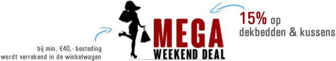 Mega Weekend Deal bij matrassen.nl. Alle dekbedden en kussens met 15% korting!