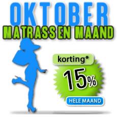 Pocketvering, koudschuim matrassen en latex matrassen de hele maand met 15% korting. Oktober maand matrassen maand!